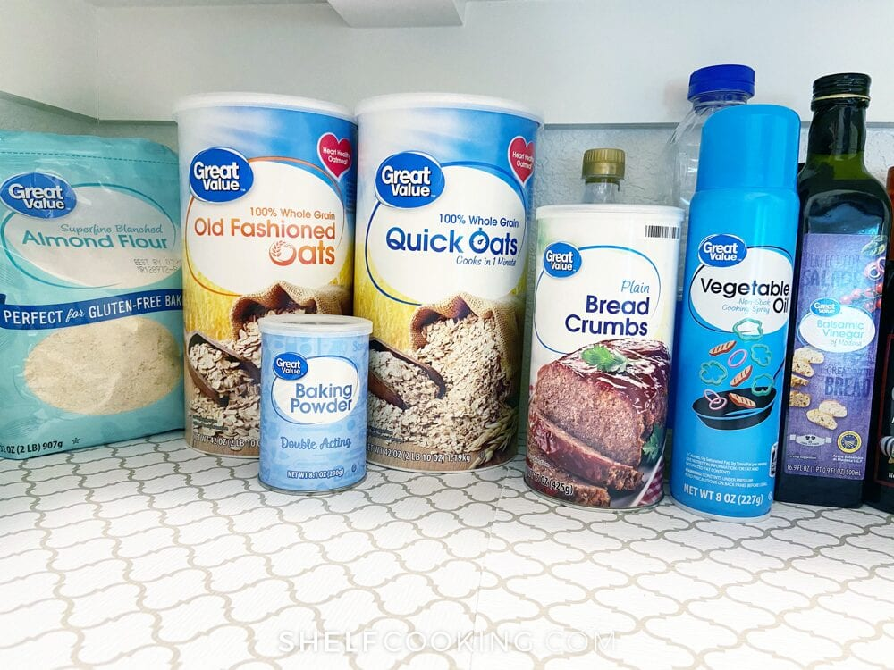 Pantry staples on a shelf, from Shelf Cooking