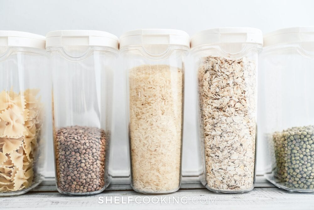 Cereal containers organizing food, from Shelf Cooking