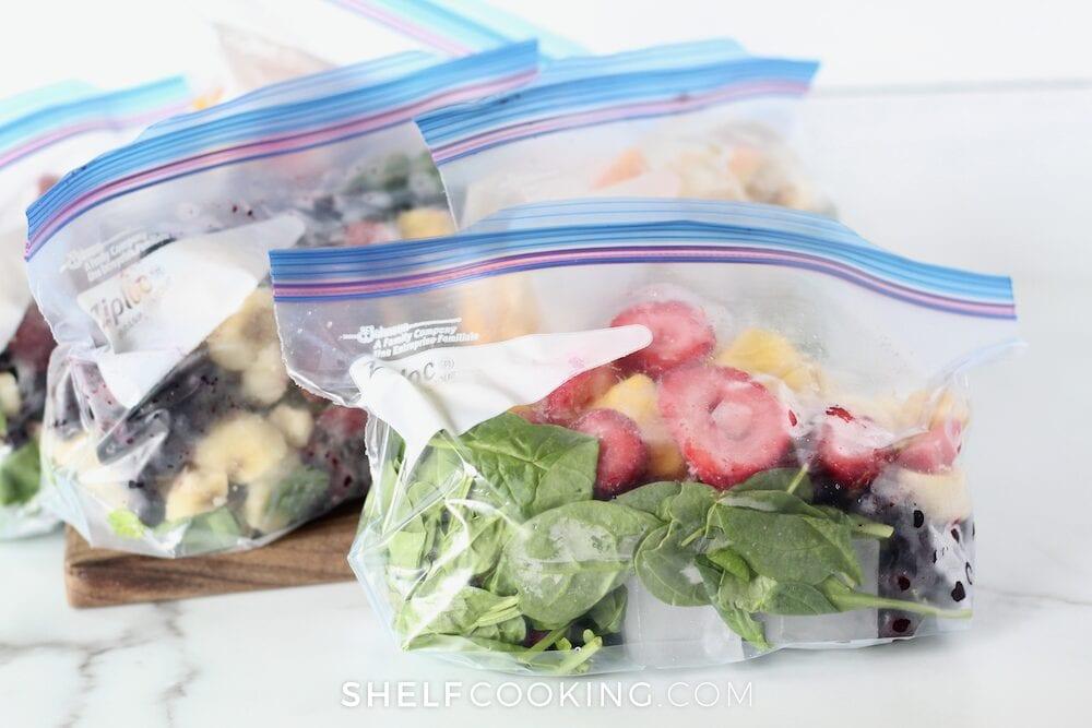 Frozen fruit in a freezer bag, from Shelf Cooking