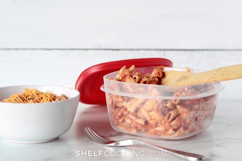Food in a bowl ready to reheat, from Shelf Cooking