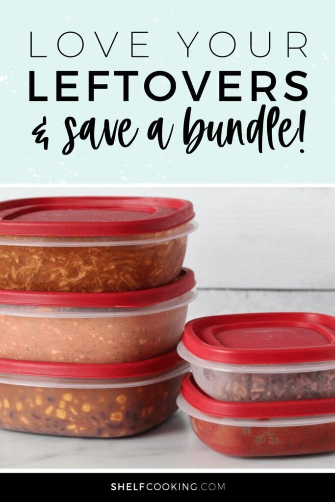 """Image with text that reads """"love your leftovers and save a bundle"""" from Shelf Cooking"""