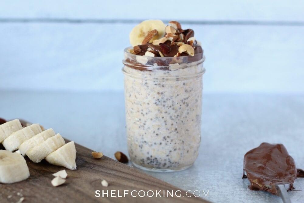 Banana Nutella breakfast in a jar, from Shelf Cooking