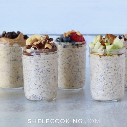 Various overnight oats on a counter, from Shelf Cooking