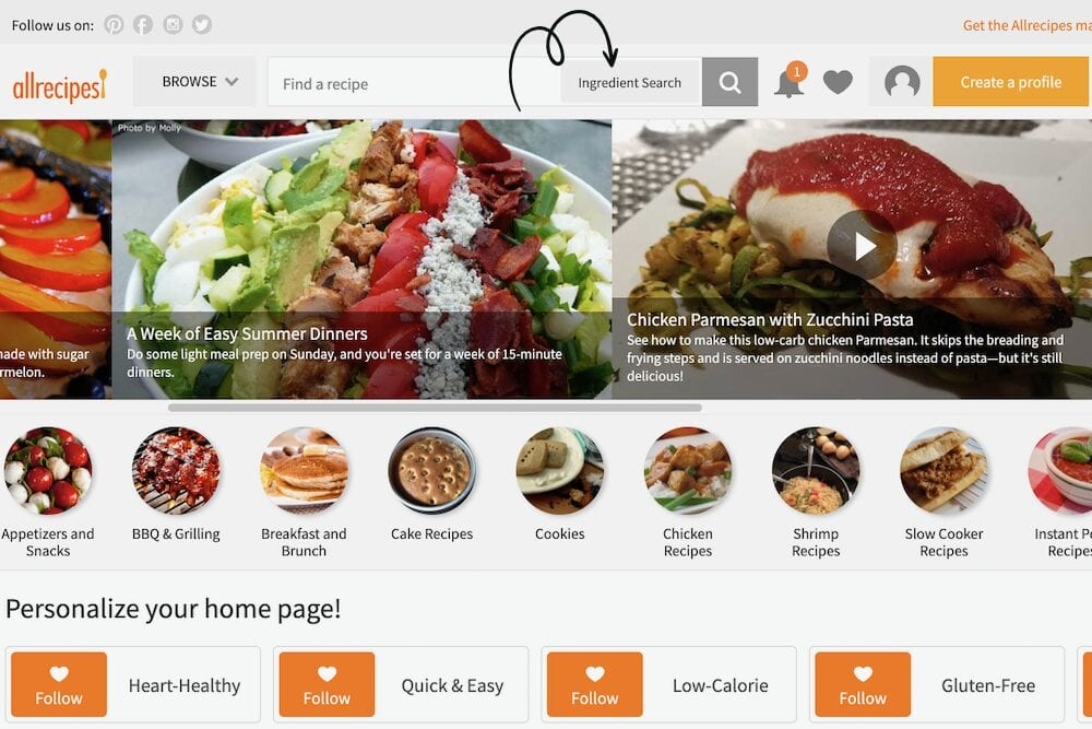 Screenshot of Allrecipes.com ingredient search, from Shelf Cooking