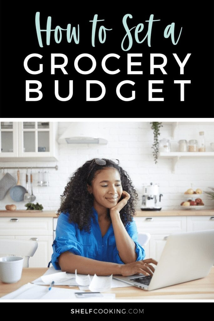 """Image with text that reads """"how to set a grocery budget"""" from Shelf Cooking"""