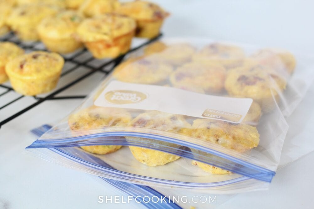 Egg muffin cups in a freezer bag, from Shelf Cooking