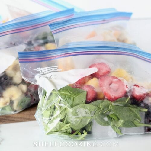 Frozen smoothie packs on a counter, from Shelf Cooking