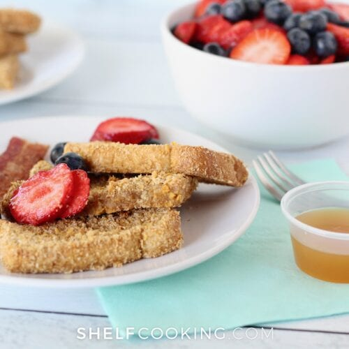 Crunchy French toast sticks on a plate, from ShelfCooking.com