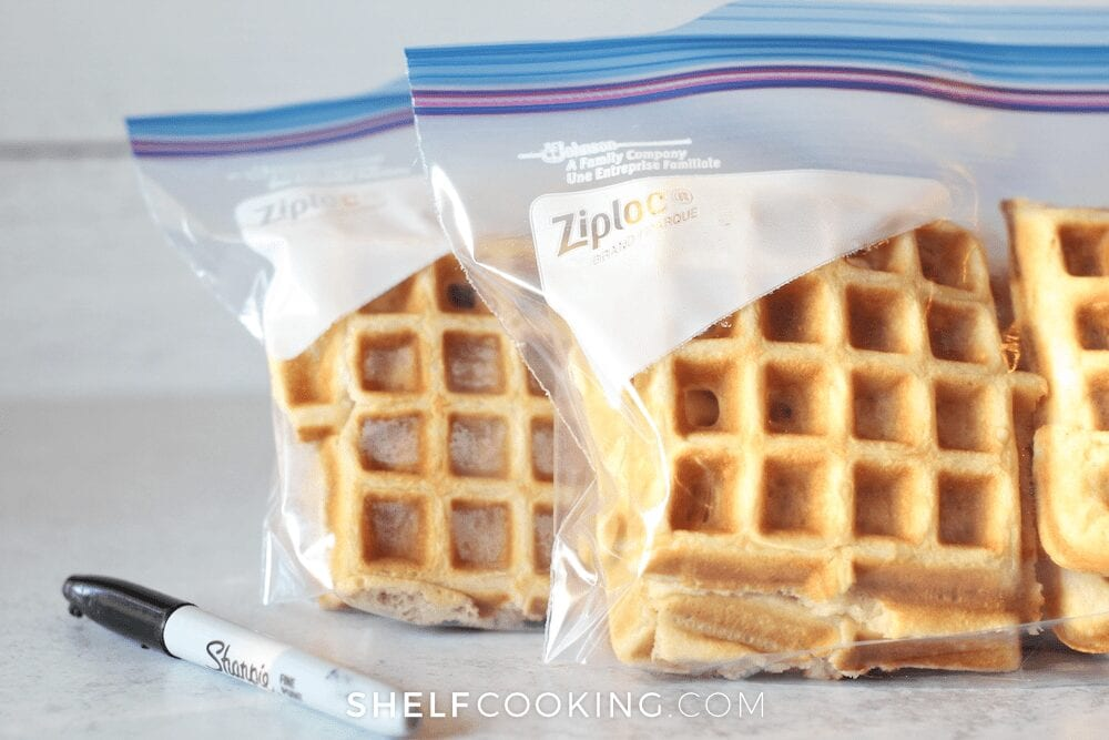 Homemade waffles in a freezer bag, from Shelf Cooking