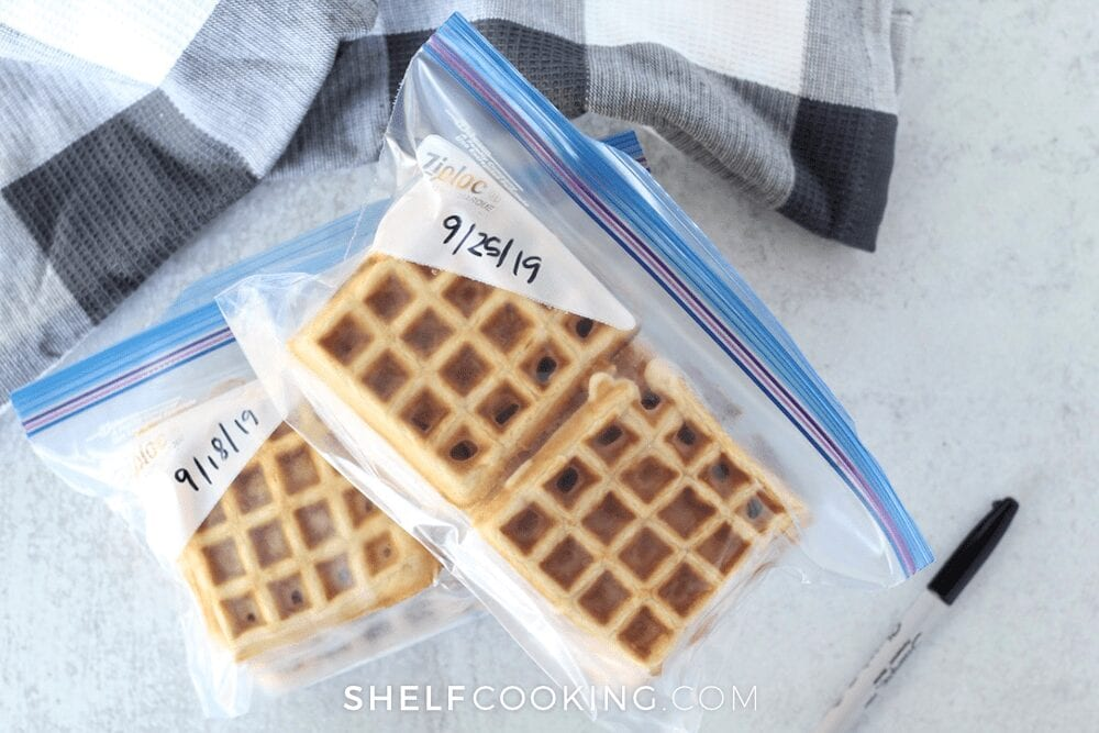Waffles in freezer bags on a counter, from Shelf Cooking