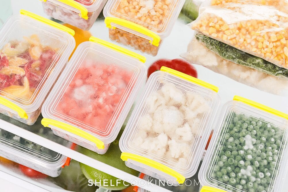 Frozen food in containers, from Shelf Cooking