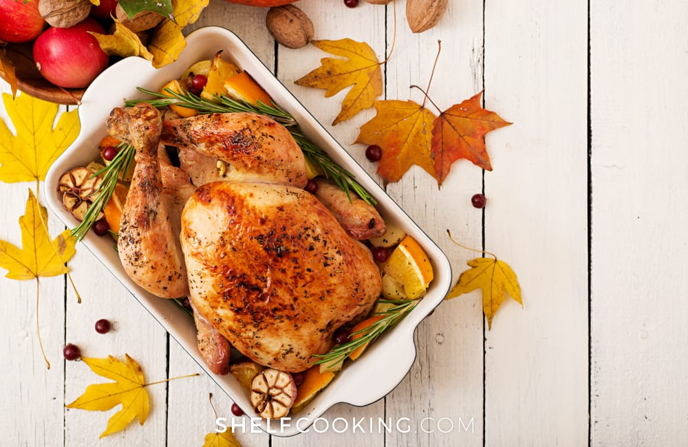Roasted turkey in a baking dish, from Shelf Cooking