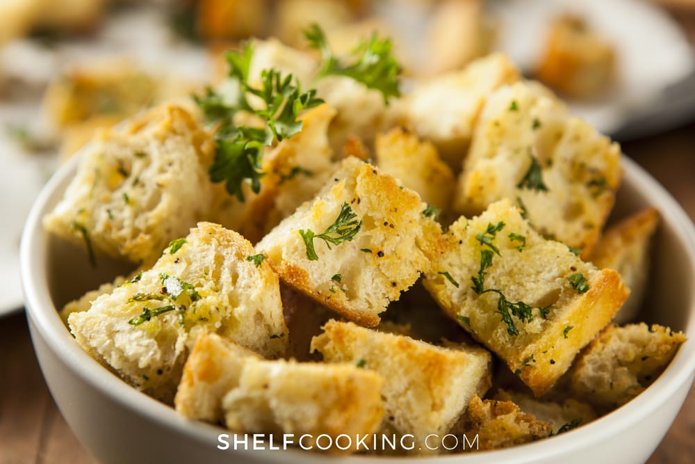 Croutons in a bowl, from Shelf Cooking