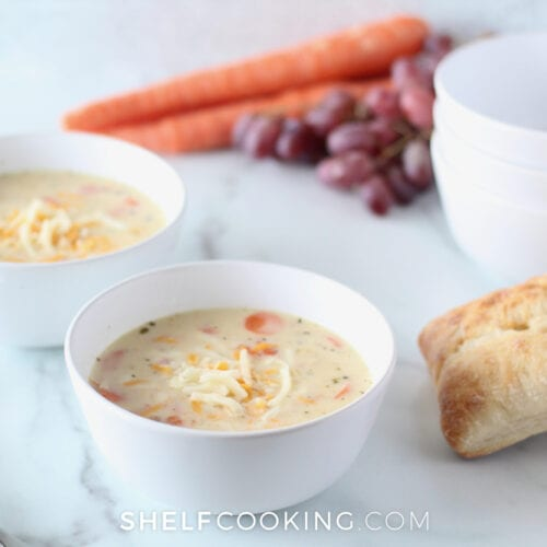 Easy creamy chicken soup on a counter, from ShelfCooking.com
