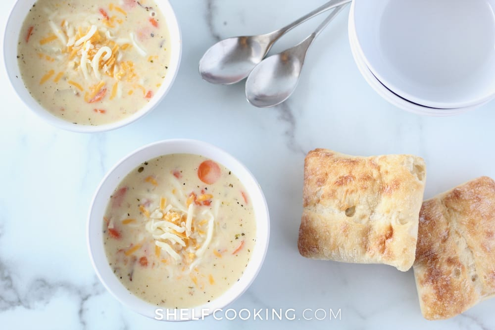Soup and bread on a counter, from ShelfCooking.com