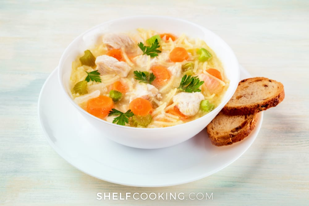 Chicken noodle soup in a bowl, from ShelfCooking.com