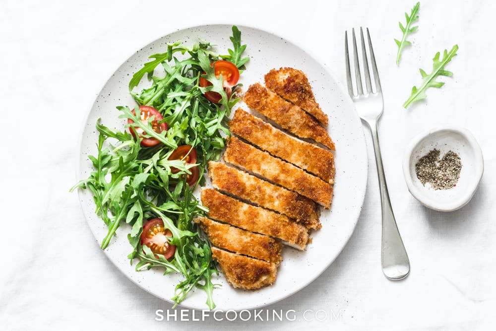 Breaded chicken on a plate, from Shelf Cooking