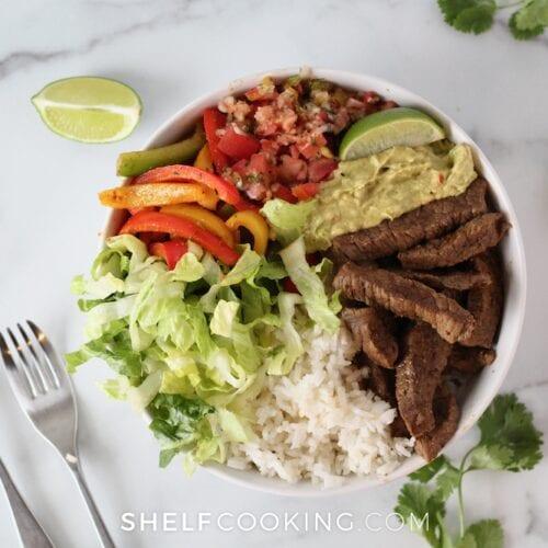 Fajita steak bowl from Shelf Cooking