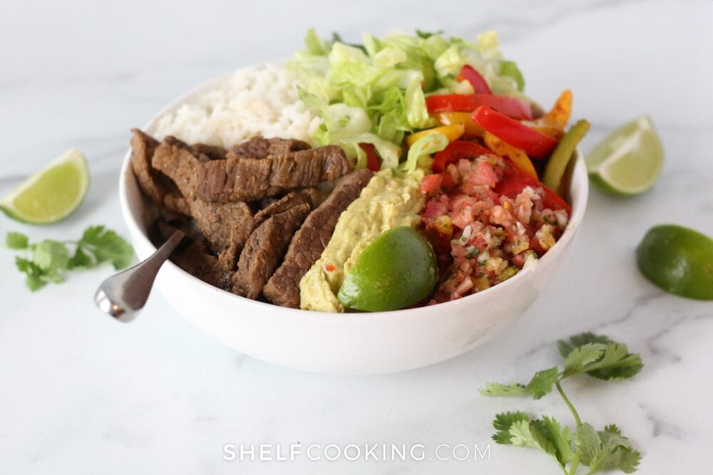 Steak rice bowl on a counter, from Shelf Cooking