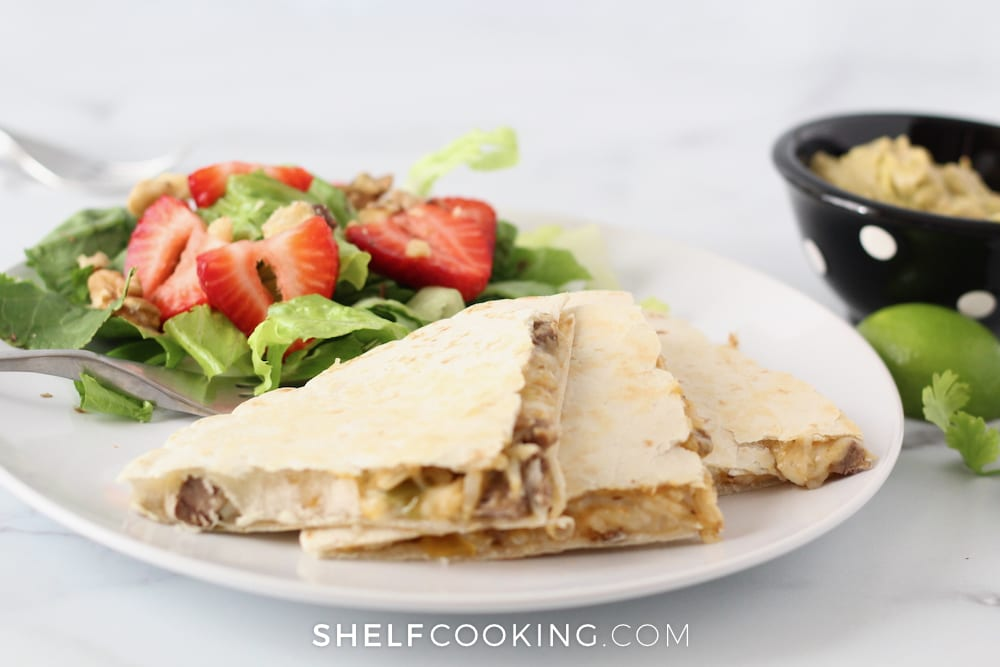 A salad pairs really nicely with a steak quesadilla - Tips from ShelfCooking.com
