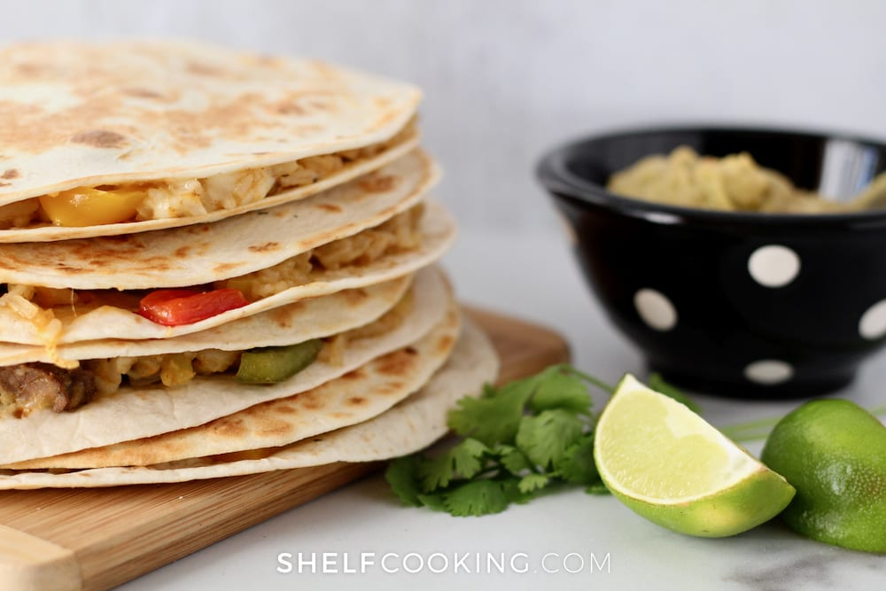 Quesadillas are the perfect meal to make using leftovers that need to be used up - Tips from ShelfCooking.com