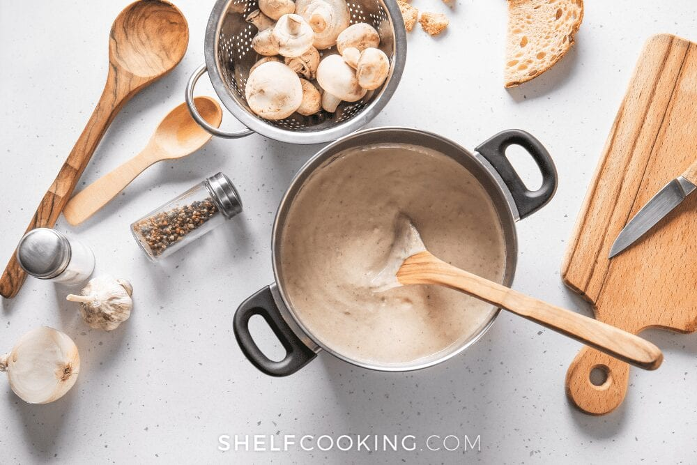 homemade cream of mushroom soup in a pot, from Shelf Cooking