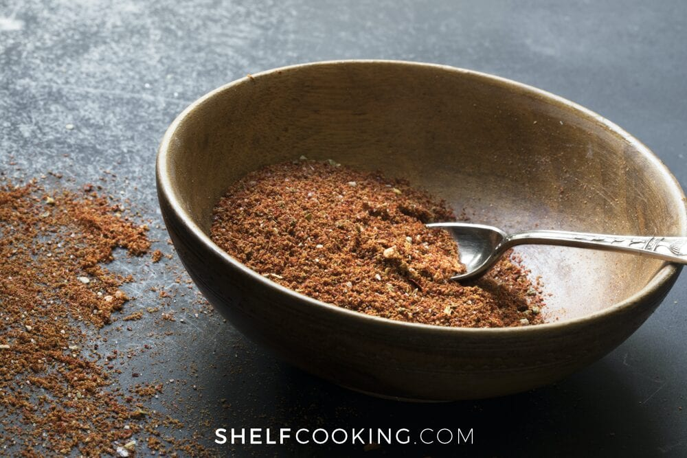 taco seasoning in a bowl with a spoon, from Shelf Cooking