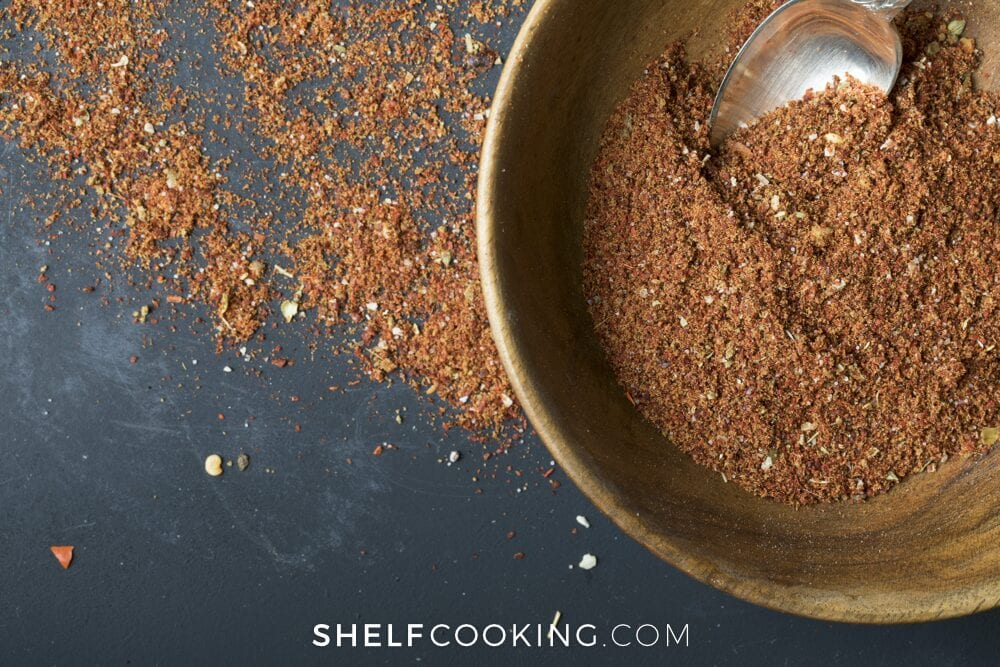 homemade taco seasoning in a bowl, from Shelf Cooking