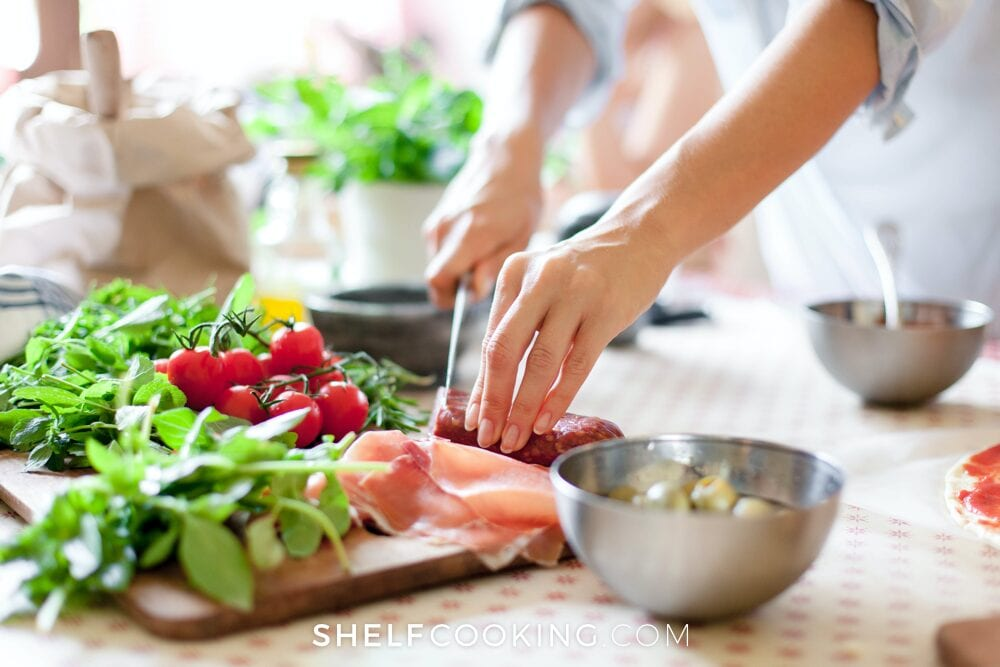 woman chopping vegetables, from Shelf Cooking