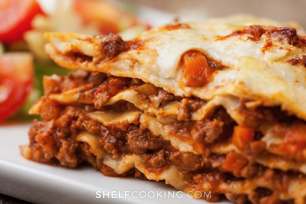 Lasagna on a plate, from Shelf Cooking