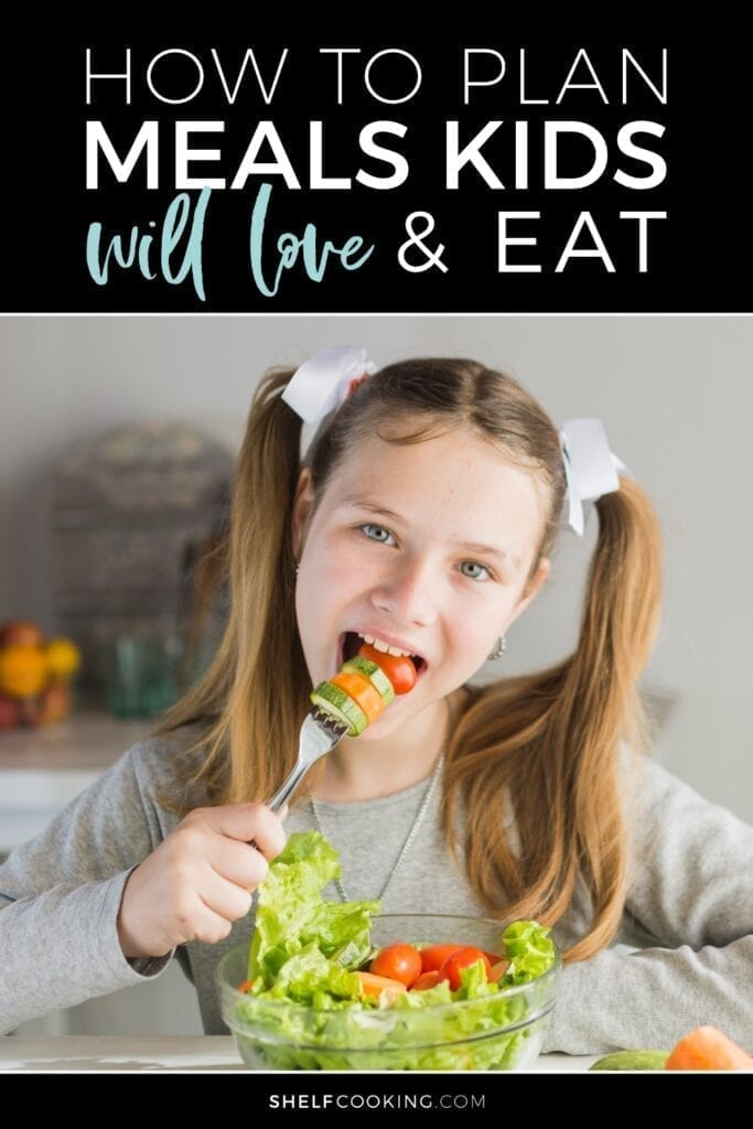 Girl eating salad from a bowl, from Shelf Cooking