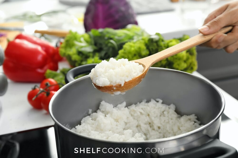 white rice in a pan, from Shelf Cooking