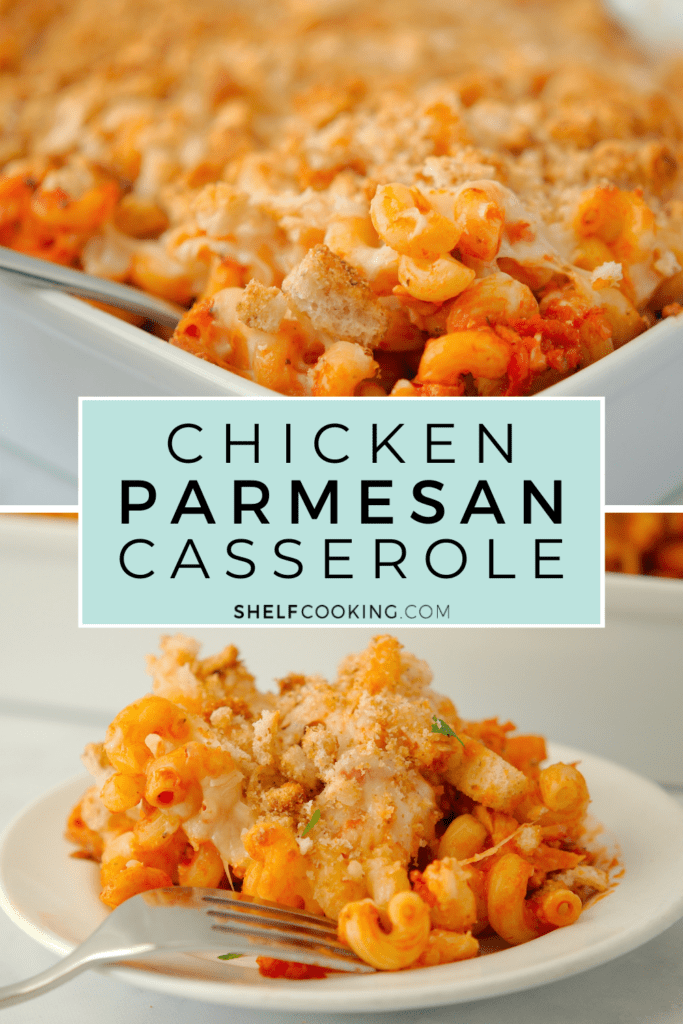 Chicken parmesan casserole in a dish and plate, from Shelf Cooking