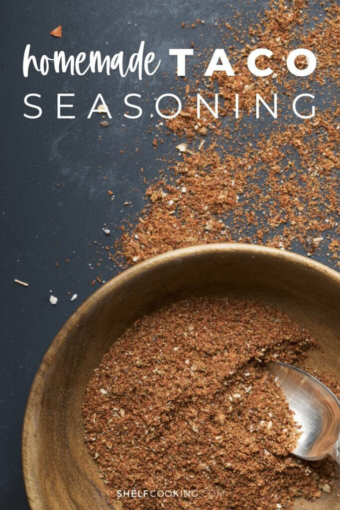 Homemade taco seasoning in a bowl with a spoon, from Shelf Cooking