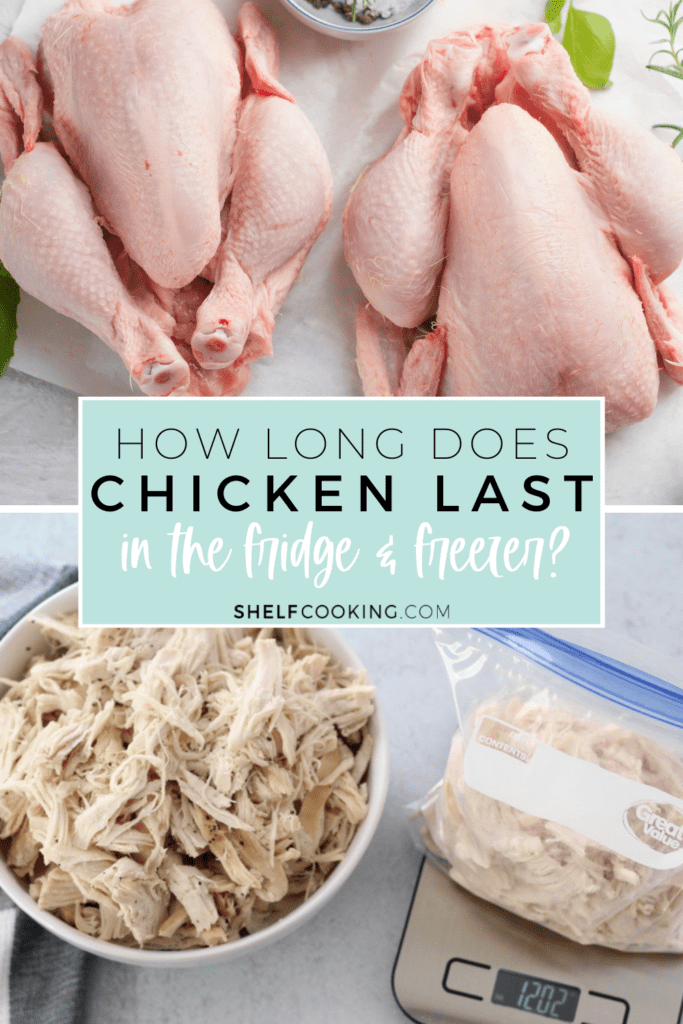 """Image with text that reads """"how long does chicken last in the fridge & freezer"""" from Shelf Cooking"""