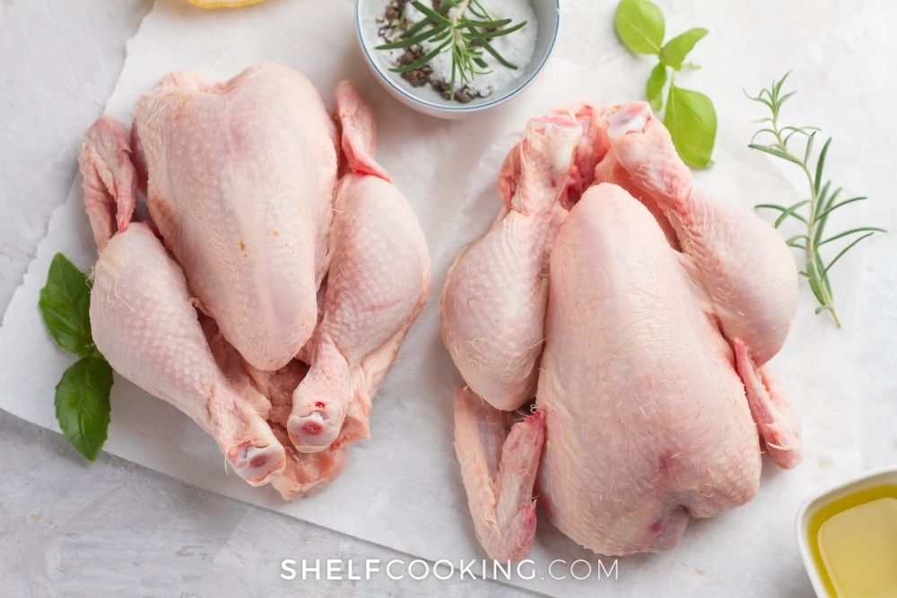 two whole raw chickens, from Shelf Cooking