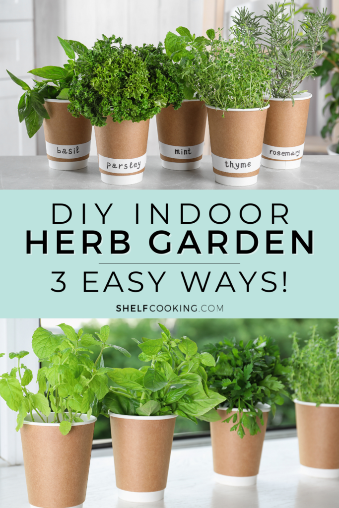 """Image with text that reads """"DIY indoor herb garden"""" from Shelf Cooking"""