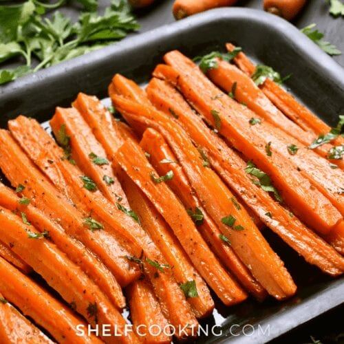 roasted carrots in a pan, from Shelf Cooking