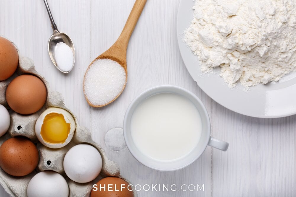 Flour, heavy white cream, eggs, and sugar from Shelf Cooking