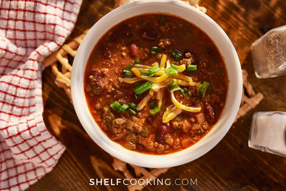 Chili in a bowl, from Shelf Cooking