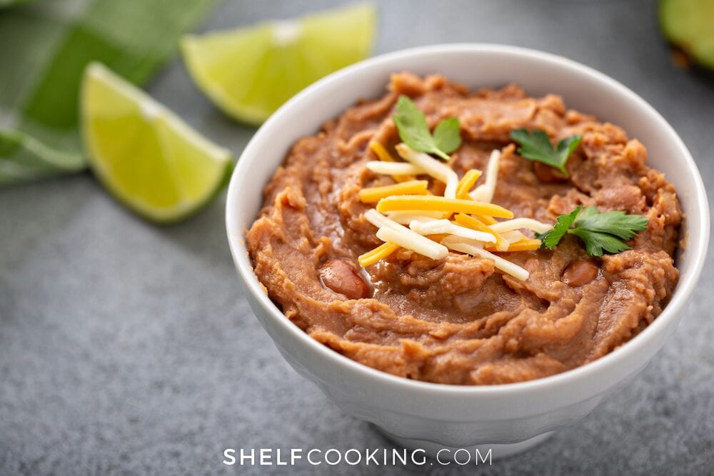 refried beans in a bowl, from Shelf Cooking