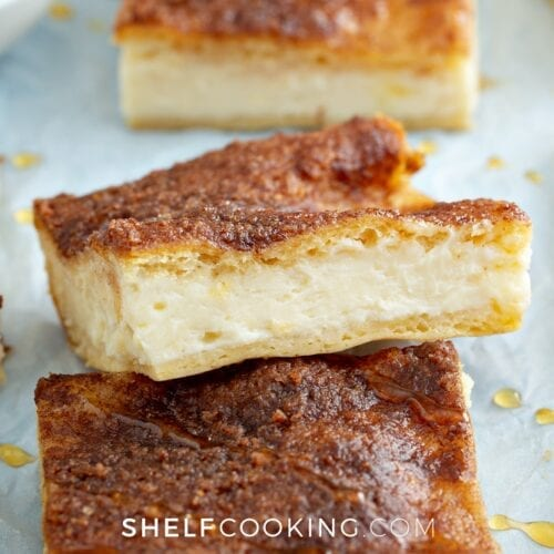 sopapilla cheesecake on a counter, from Shelf Cooking
