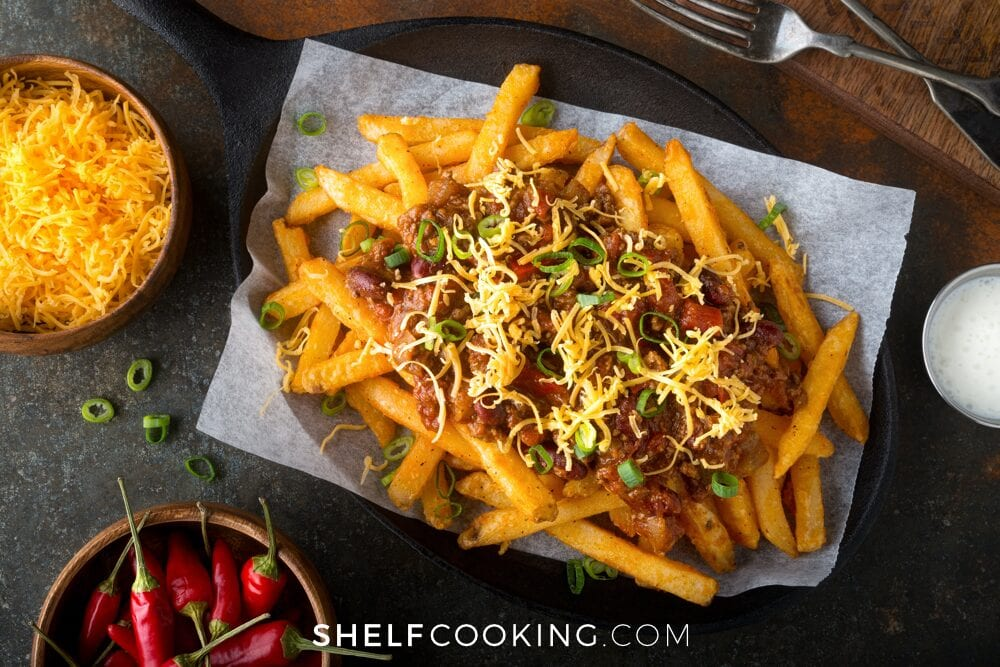 chili fries on a plate, from Shelf Cooking