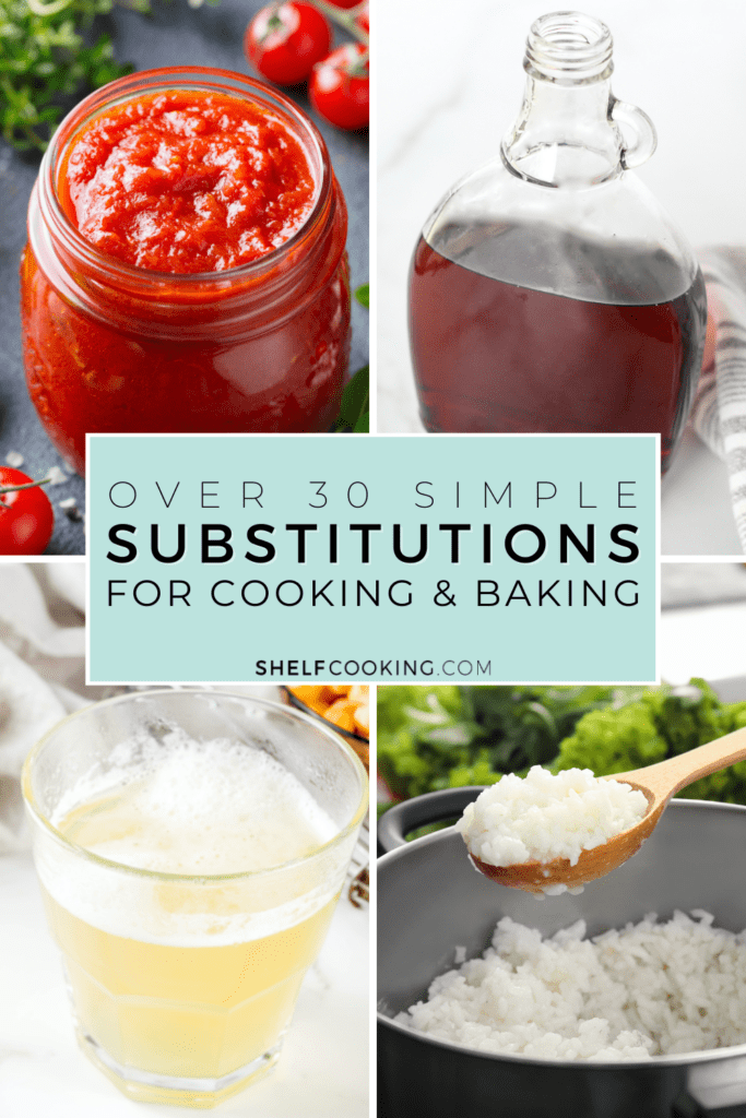 various recipe substitutes for cooking and baking, from Shelf Cooking
