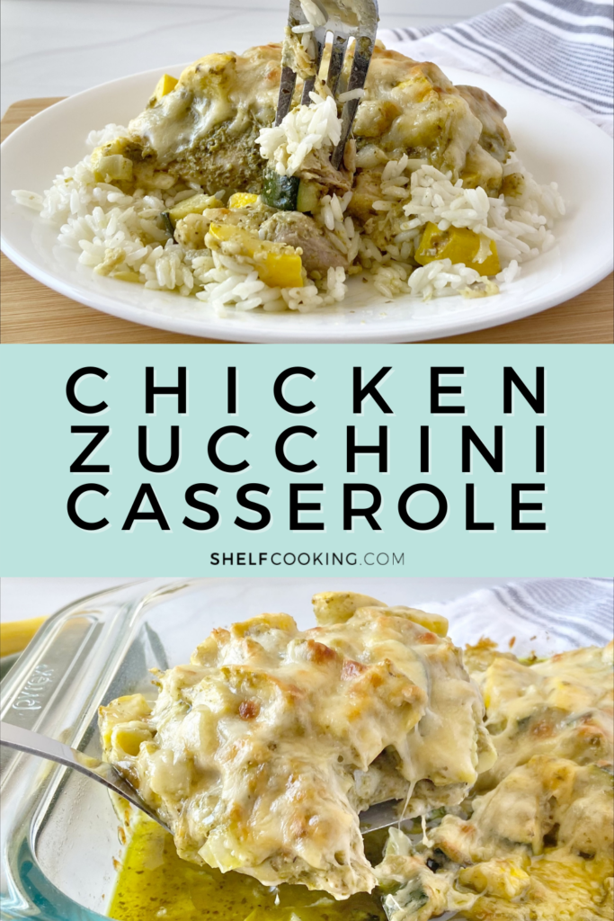 chicken zucchini casserole on a plate, from Shelf Cooking