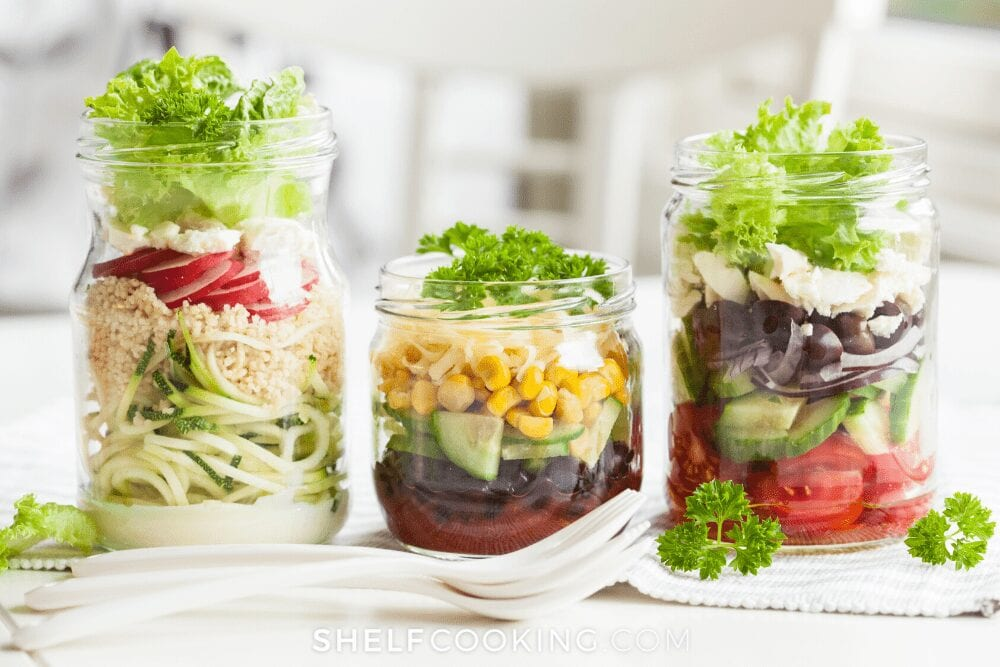 mason jar salad on a counter, from Shelf Cooking
