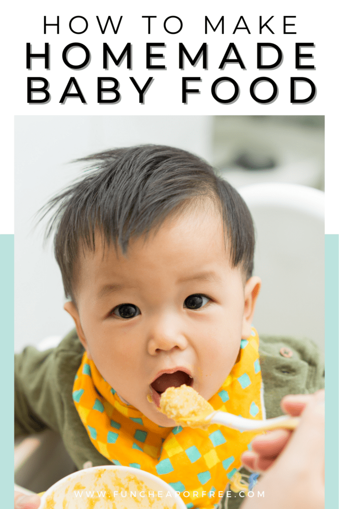 Baby eating homemade baby food, from Shelf Cooking