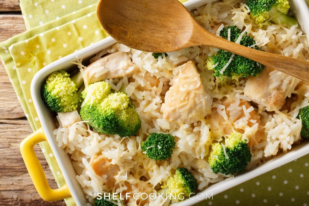 Chicken broccoli casserole in a dish, from Shelf Cooking