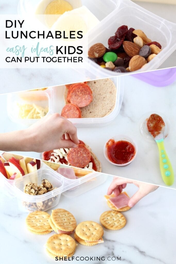 """Text that reads """"DIY lunchables - easy ideas kids can put together,"""" from Shelf Cooking"""