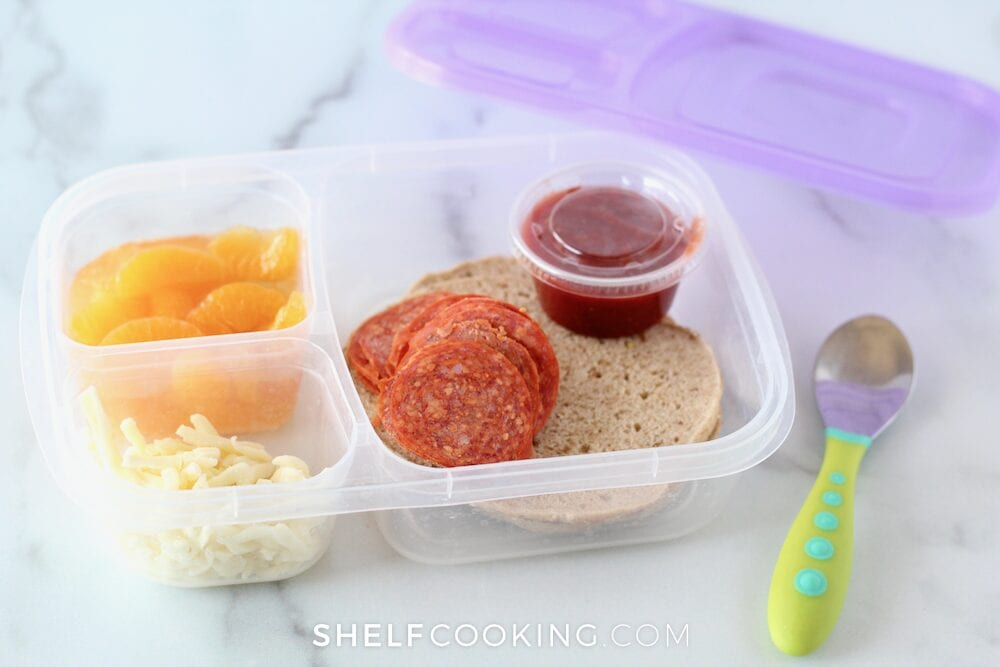 Pizza DIY lunchables on a counter, from Shelf Cooking